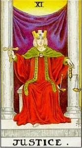 Ottava carta degli Arcani Maggiori. La Giustizia